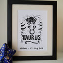 Taurus Star Sign Personalised Print
