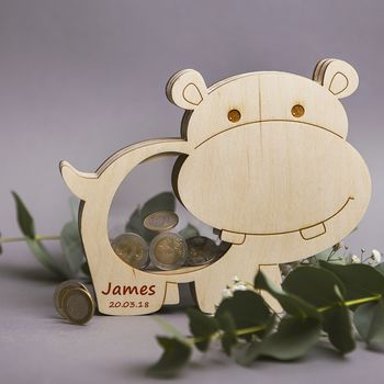 Personalised Baby Hippo Money Box