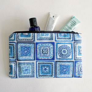 Blue And White Portugal Tiles Lined Cotton Bag - girls' bags & purses