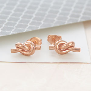 Friendship Knot Rose Gold Small Stud Earrings - rose gold jewellery