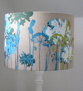 Floral Screen Printed Linen Lampshade