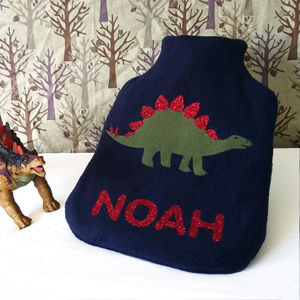 Stegosaurus Personalised Hot Water Bottle Cover