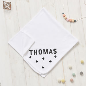 Personalised New Baby Scandi Crosses Blanket - baby's room