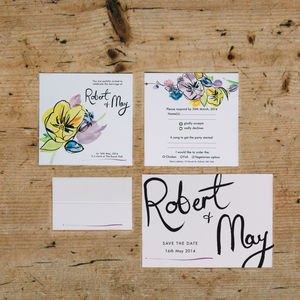 Spring Fete Watercolour Painted Wedding Stationery Set - save the date cards