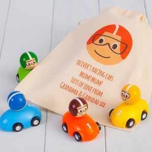 Four Pull Back Toy Racing Cars And Personalised Bag