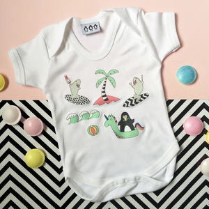 Penguin And Shark Go Surfing Babygrow