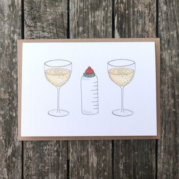 Wine, Bottle And Wine New Baby Card