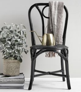 Black Bamboo/Rattan Dinner Chair