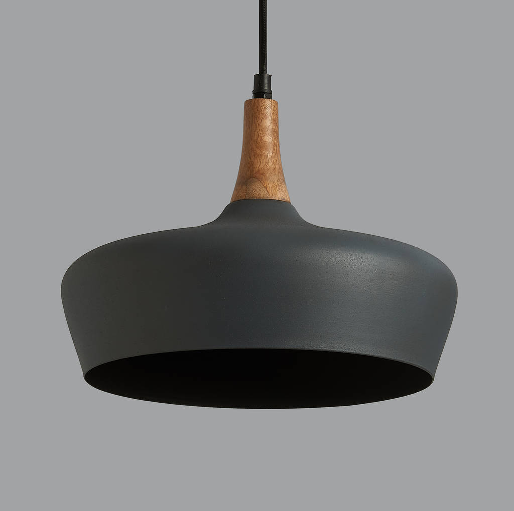 Luther Cement And Wood Pendant Light By Horsfall & Wright