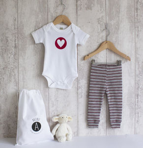 Baby Bodysuit And Merino Red And White Leggings Set - clothing