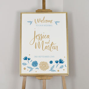 Botanical Illustration Welcome Board - room decorations