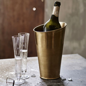 Lena Brass Champagne Cooler - engagement gifts