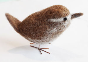 Needle Felted Collectible Wren - sculptures