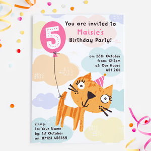 Birthday Cat Party Invitations