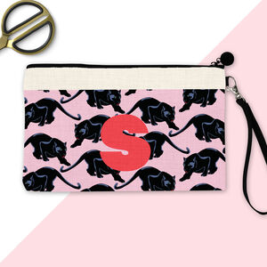 Personalised Initial Panther Make Up Pouch