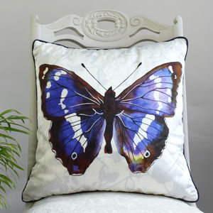 Purple Emperor Butterfly Print Silk Cushion