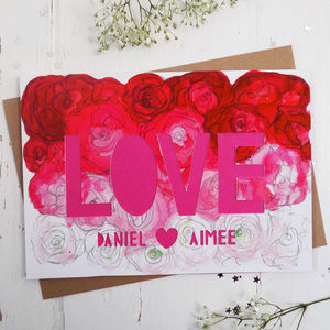 Personalised Paper Cut 'Love' Wedding Card - personalised cards