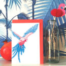 'Tropicana' Neon Parrot Greeting Card