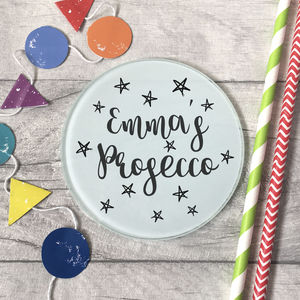 Personalised Name Prosecco / Drink Glass Coaster - gifts for her