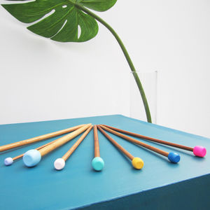 Multicoloured Customised Knitting Needle Pair - sewing & knitting