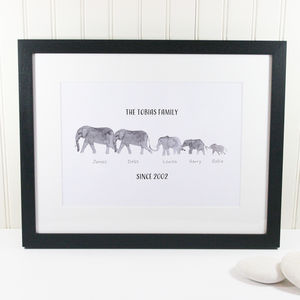 Personalised Elephant Family Print - personalised