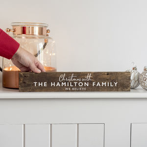 Personalised Family Christmas Wooden Sign