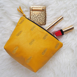 Embroidered Metallic Pineapple Leather Make Up Bag