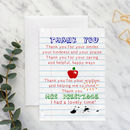 Teacher Thank You Poem Card