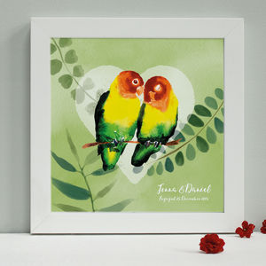 Personalised Engagement Lovebirds Framed Print - canvas prints & art
