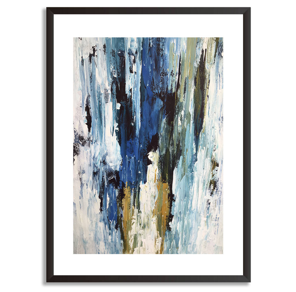 Blue gold abstract art print framed wall art pictures