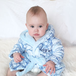 Personalised Blue Car Hooded Robe