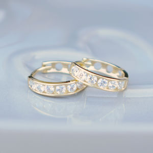 9ct Gold Channel Set Cubic Zirconia Hoop Earrings - earrings