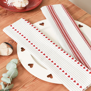 Cranberry Heart Red And White Striped Fabric Napkins - table linen