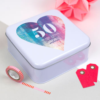 Heart Print Birthday Tin Box