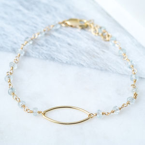 Aquamarine March Birthstone Gold Bracelet