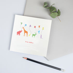 Personalised Thank You Cards With Animals