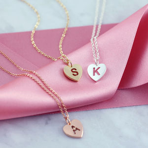 Pierced Heart Initial Necklace