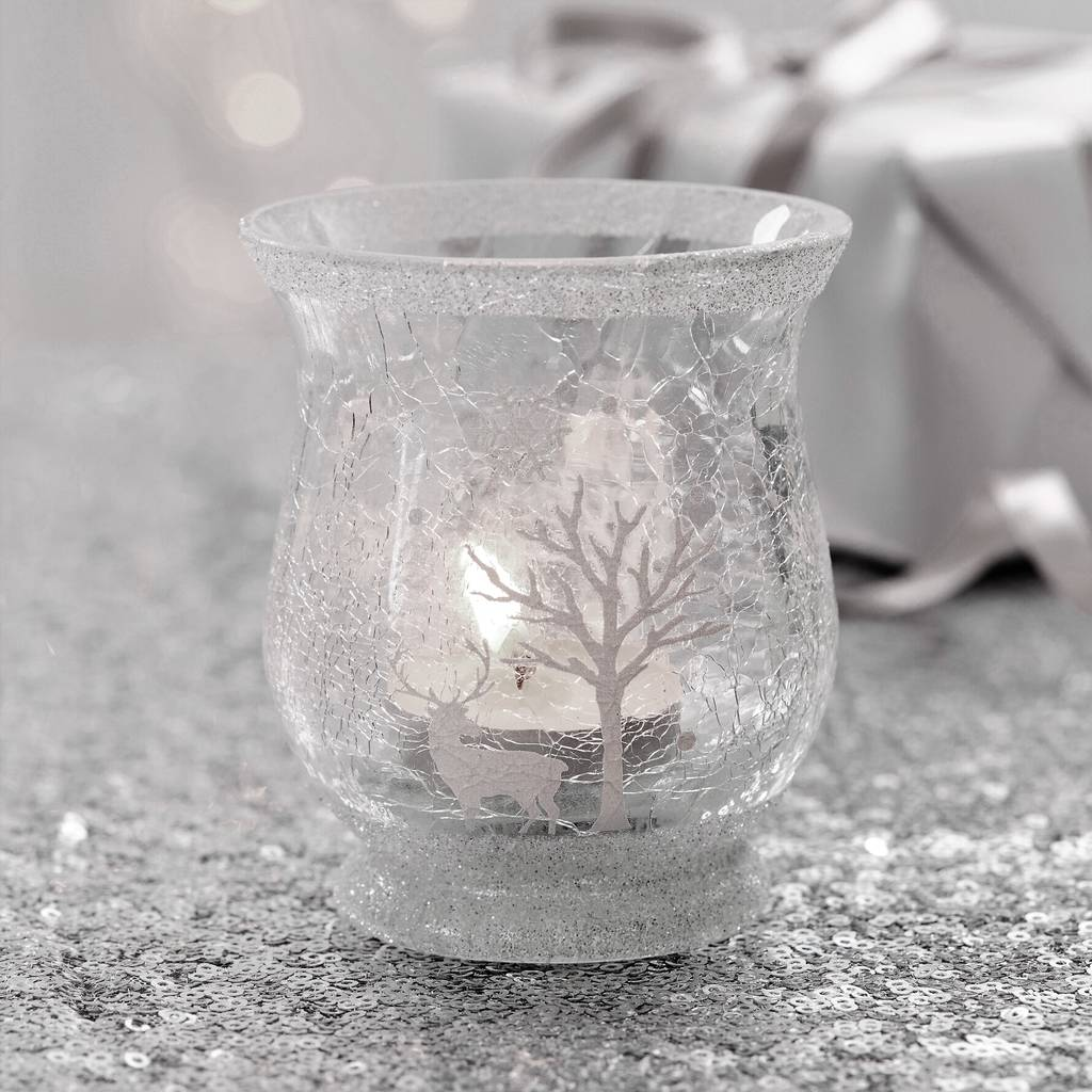 Small White Woodland Christmas Tea Light Holder