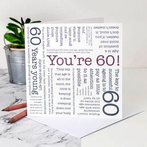 60th Birthday Card 'You're 60!' Quotes - birthday cards