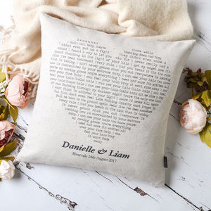 Personalised Song Cushion - 2nd anniversary: cotton