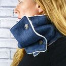 Navy Herringbone Yorkshire Tweed Neckwarmer Scarf