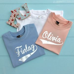 Baby Foil Personalised Name T Shirts - gifts for children
