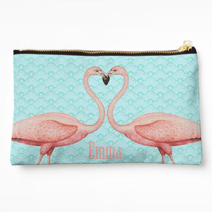 Pink Flamingo Personalised Make Up Bag