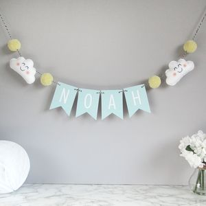 Personalised Cloud Name Bunting With Pom Poms - less ordinary children's room