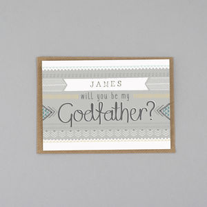 Will You Be My Godfather Card Personalised - be my godparent?