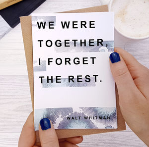 Anniversary Card 'Together' Walt Whitman Quote