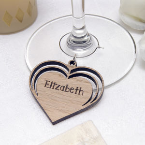 Personalised Wooden Triple Heart Wine Glass Charm - glass charms