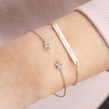 Personalised Perri Bar And Mini Star Bracelet Set