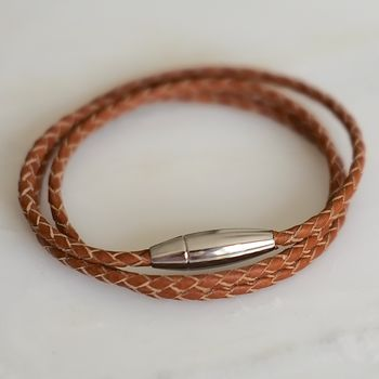 Leather Rope Bracelet With Stainless Steel Clasp