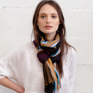 Matisha Stripe Handwoven Silk Ladies Scarf